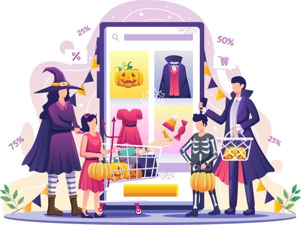 People doing Halloween shopping Illustration