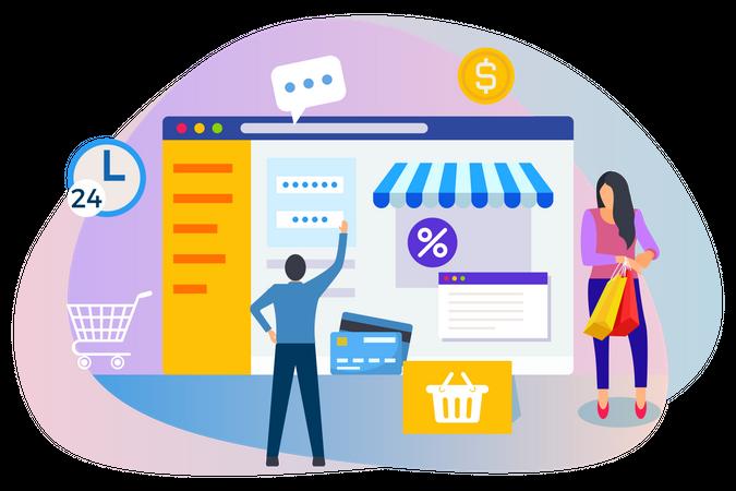 People doing online shopping Illustration