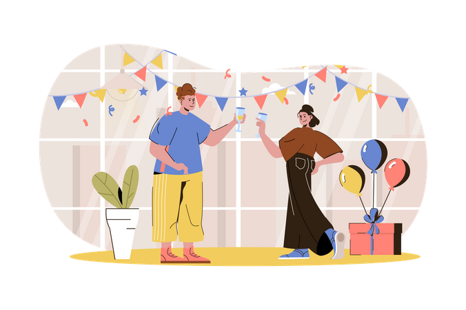 People doing party Illustration