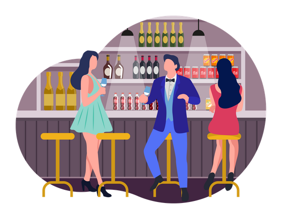 People doing party in club Illustration
