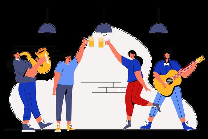 People Doing party on oktoberfest day Illustration