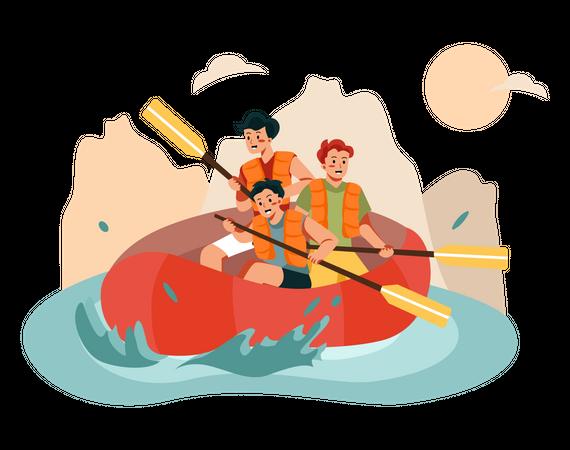 People doing river rafting Illustration