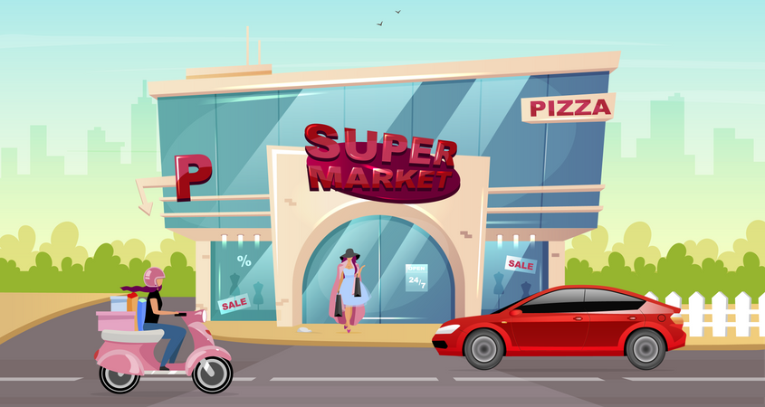 People doing shopping at supermarket Illustration