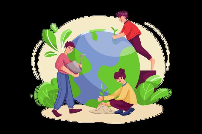 People doing tree plantation Illustration