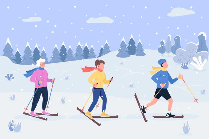 People doing Winter skiing Illustration