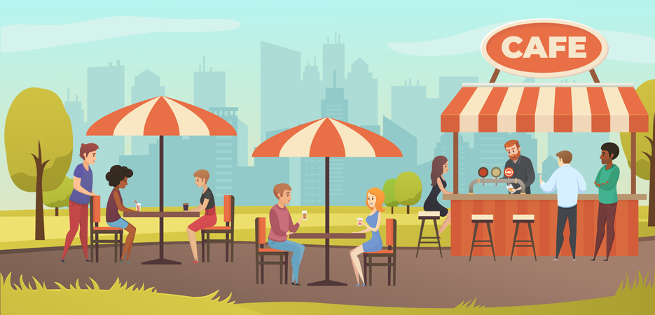 People Drink Coffee in Outdoor Street Cafe on Restaurant Terrace Illustration