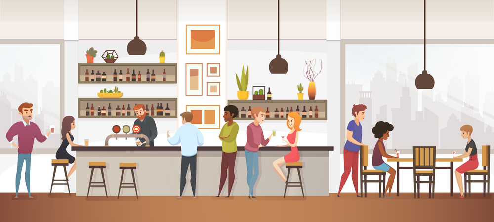 People Drink Coffee into Interior Cafe Bar Illustration