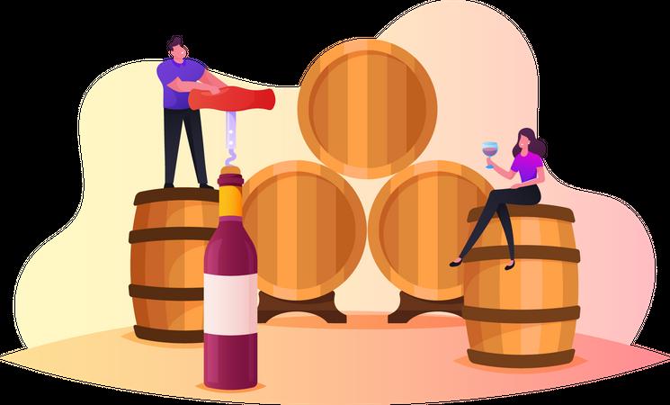 People Drinking Wine Illustration