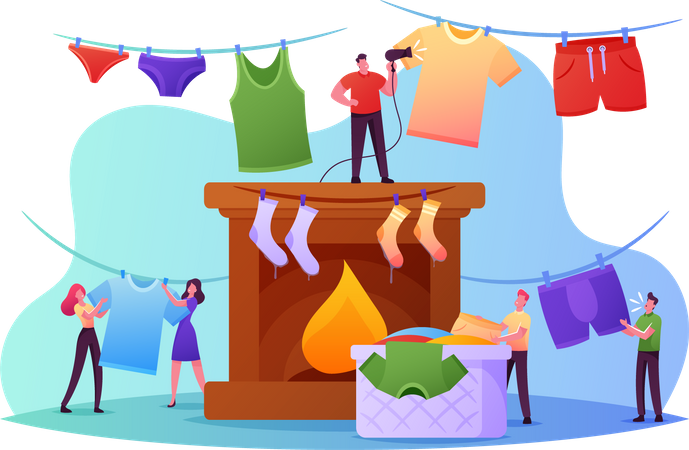 People Drying Wet Clothes Illustration