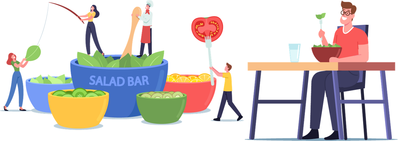 People Eating Vegetables Illustration