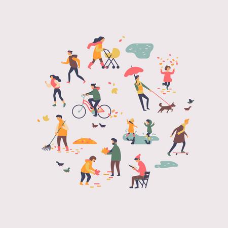 People enjoying autumn season in citypark Illustration