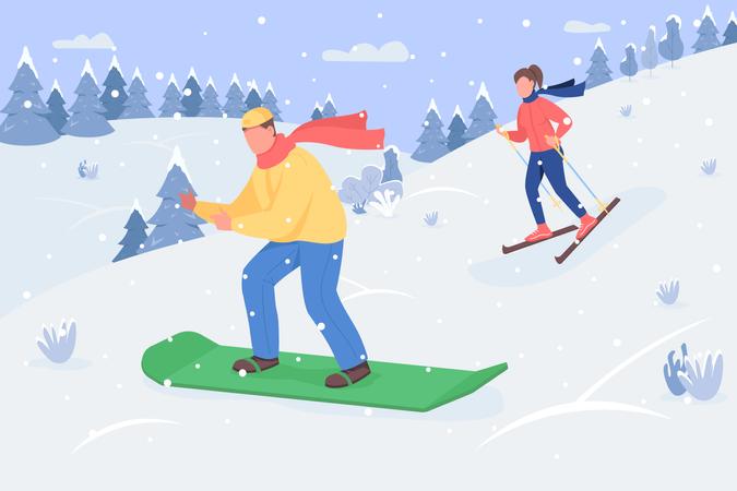 People enjoying ice skating Illustration