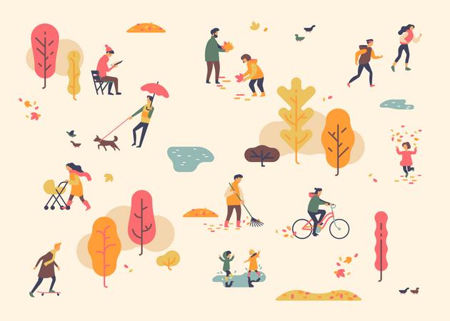 People enjoying in city park Illustration