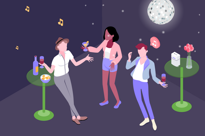 People enjoying party with dance and drink in hand Illustration