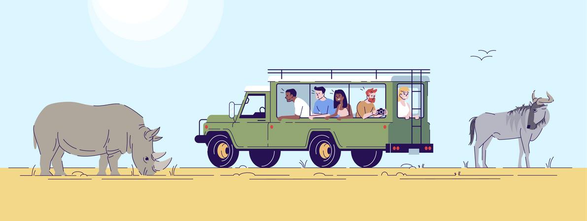 People enjoying safari trip Illustration