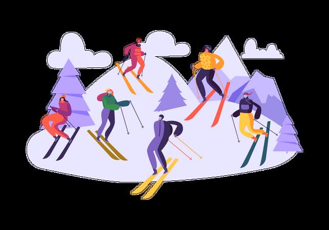 People enjoying skiing on mountain Illustration