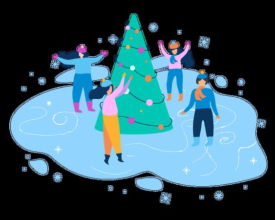 People enjoying winter season with christmas tree Illustration
