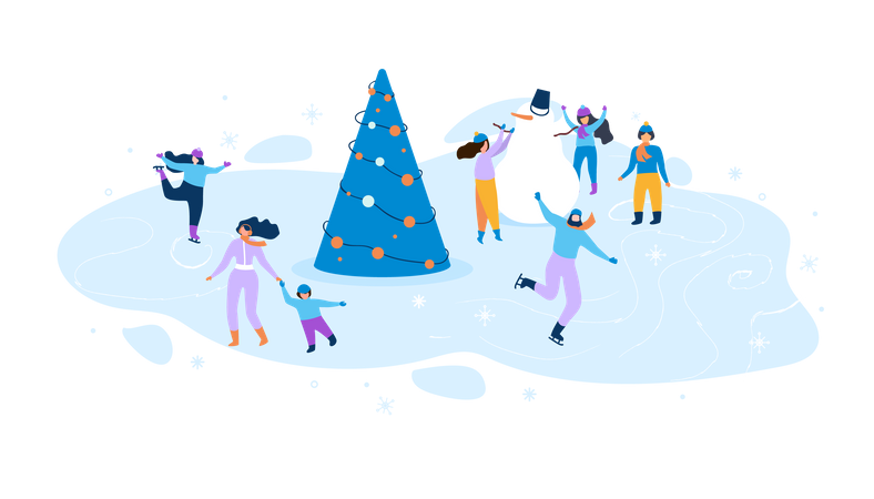 People enjoying winter season with christmas tree and snowman Illustration