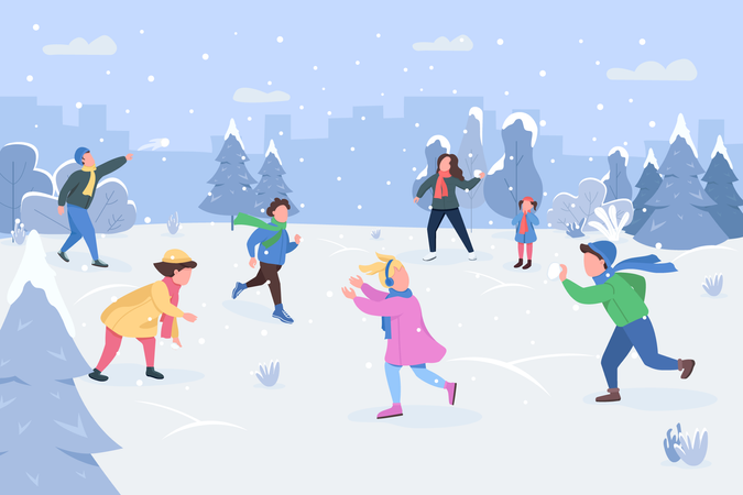 People enjoying winter vacation Illustration