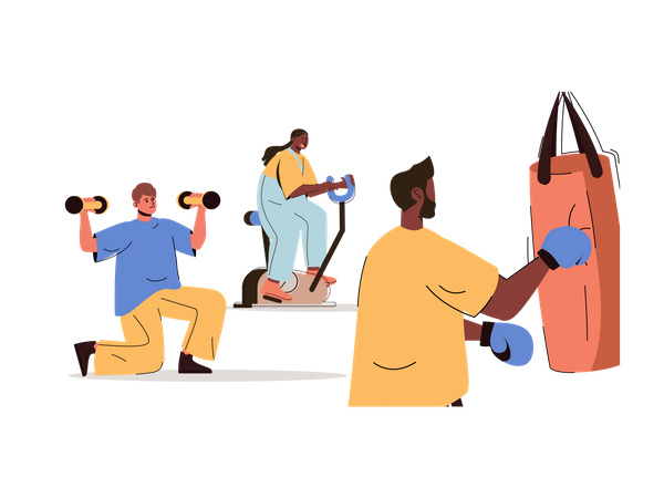 People exercising in gym Illustration