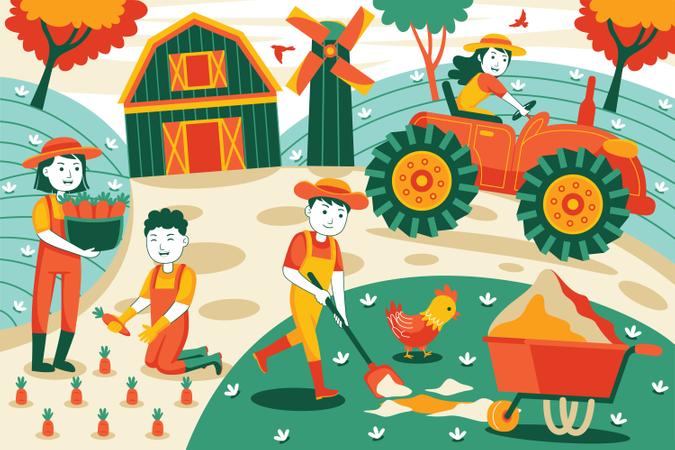 People farming Illustration