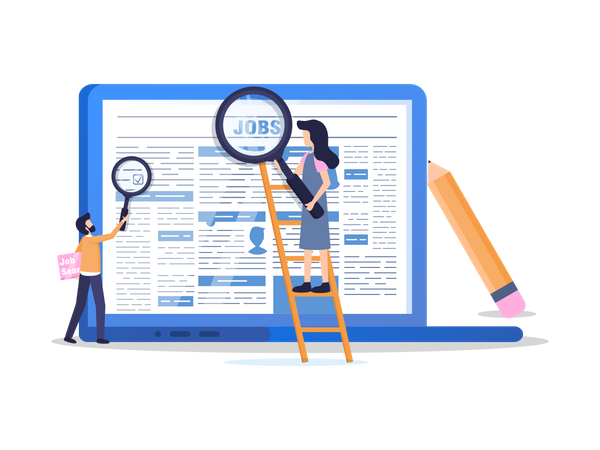 People Finding Manager Position jobs on Online newspaper Illustration