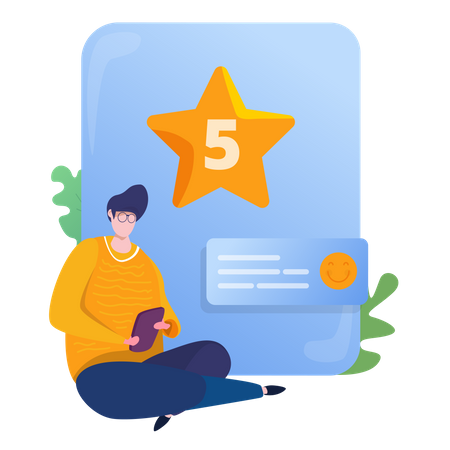 People giving 5 stars rating for feedback Illustration