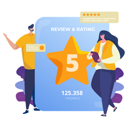 People giving 5 stars rating for online review Illustration