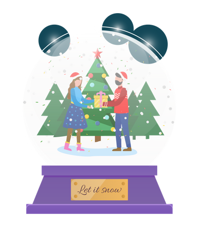 People giving christmas gift Illustration