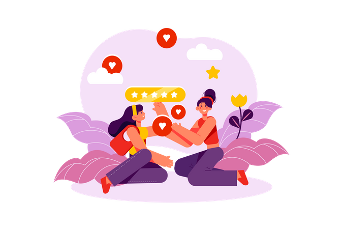 People giving feedback for online product Illustration