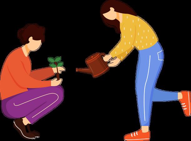 People growing plants Illustration
