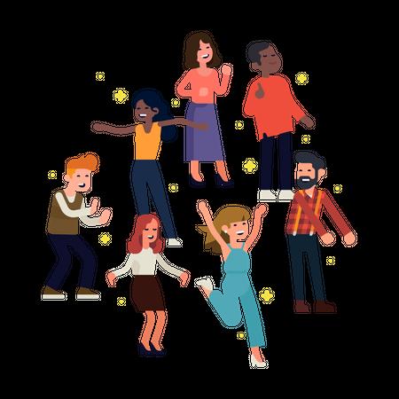 People having great time on dance floor dancing like nobody is watching Illustration