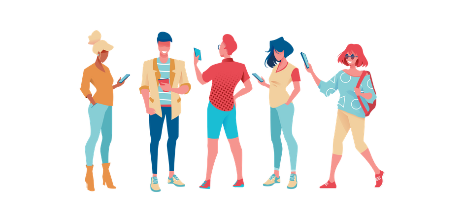 People holding mobile in hand Illustration