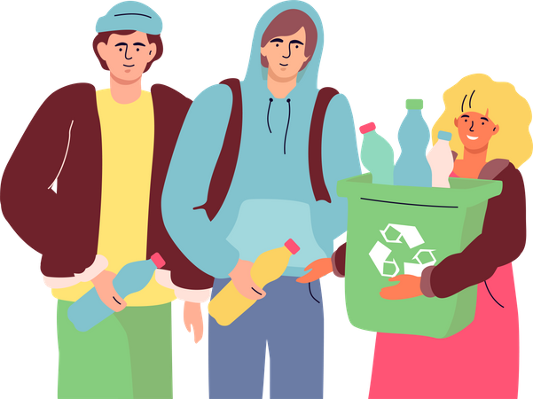 People holding recycle bin Illustration