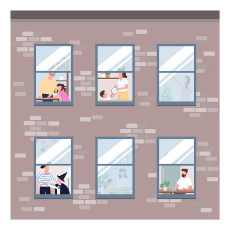 People in different apartments windows Illustration