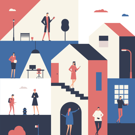 People in different situations Illustration