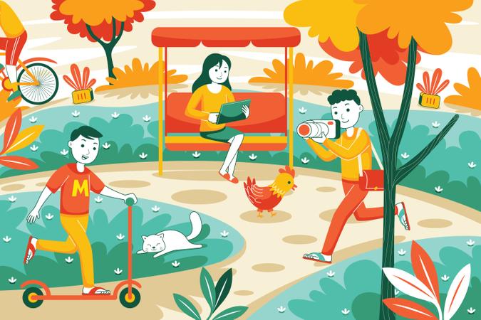 People in park Illustration