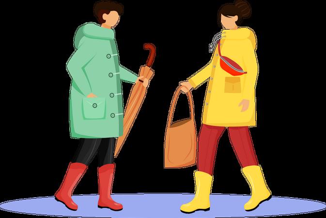 People in raincoat Illustration