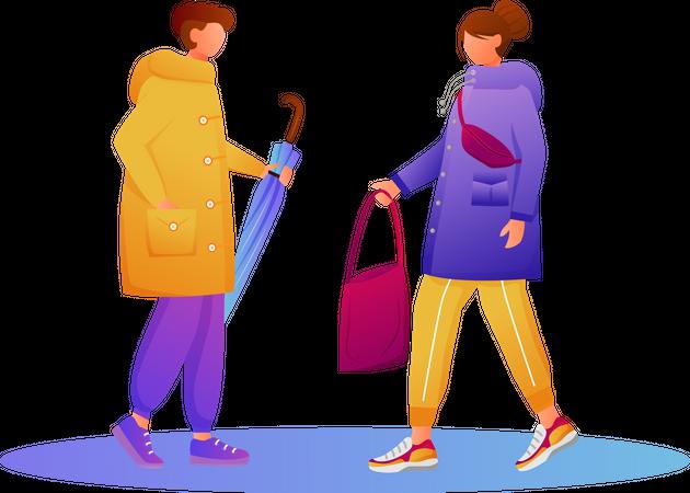 People in raincoats Illustration
