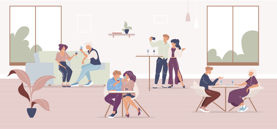 People in restaurant Illustration