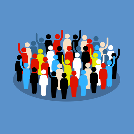 People in the crowd raising hand to show support and vote Illustration