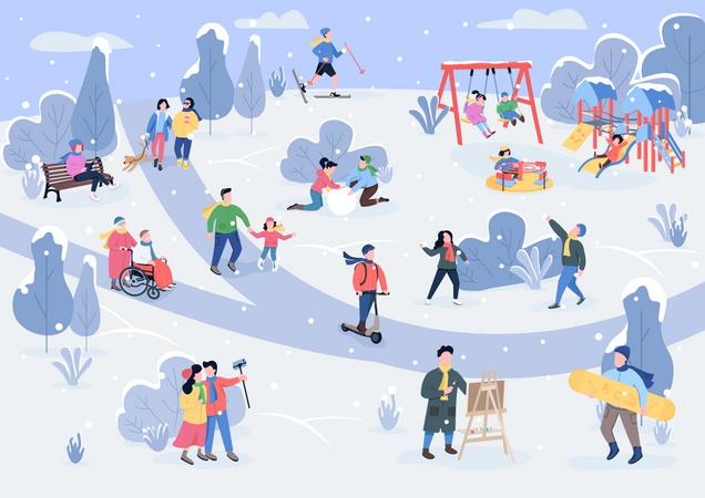People in winter park Illustration