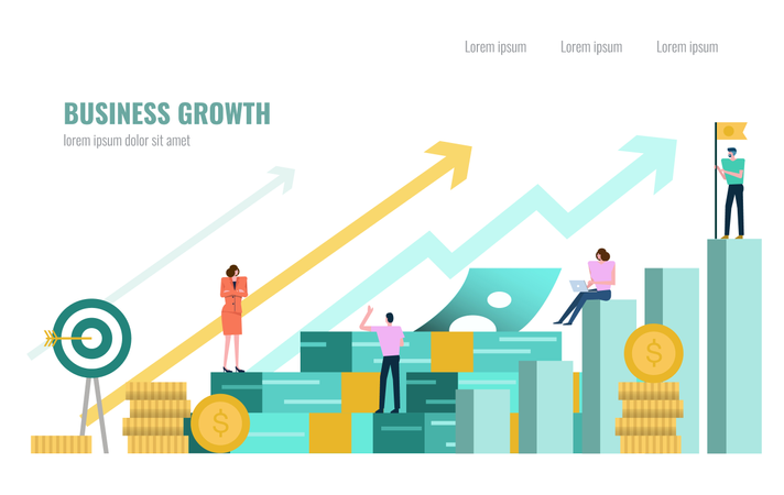 People investor and office worker secretary standing on stack of money, Business growth concept Illustration