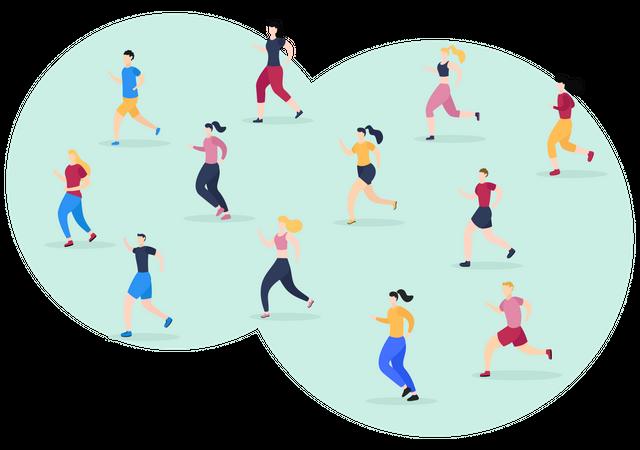 People Jogging Illustration