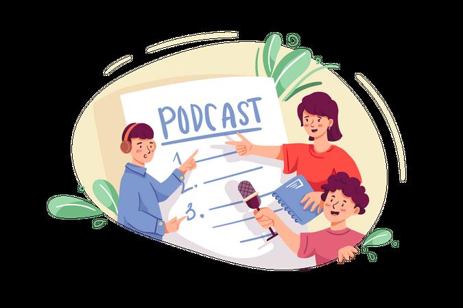 People listening podcast Illustration