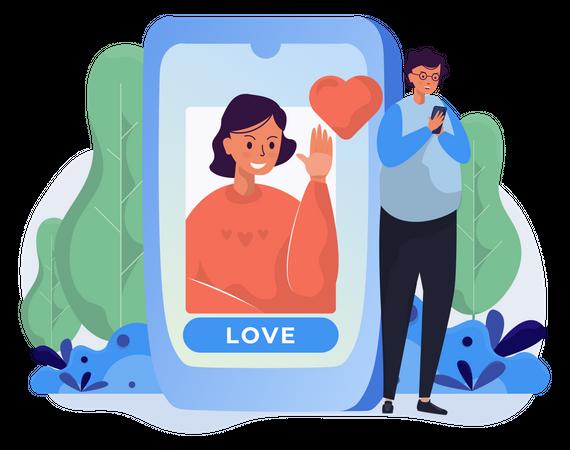People love or like on social network Illustration