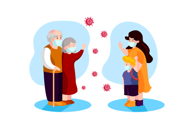 People maintaining social distance Illustration