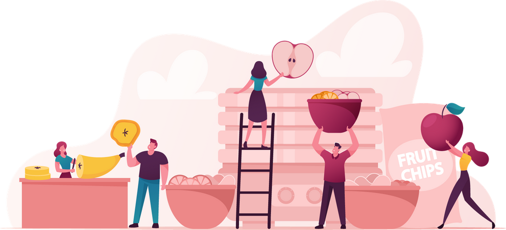 People Making Fruit Products Illustration