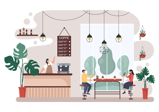 People meeting in cafe Illustration