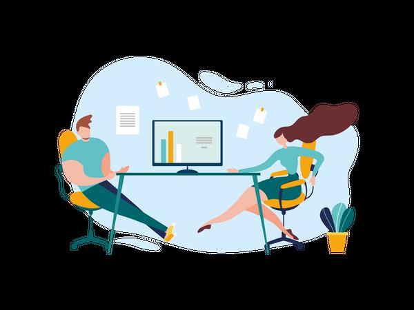 People Meeting Problem Solution Strategy Talk Illustration